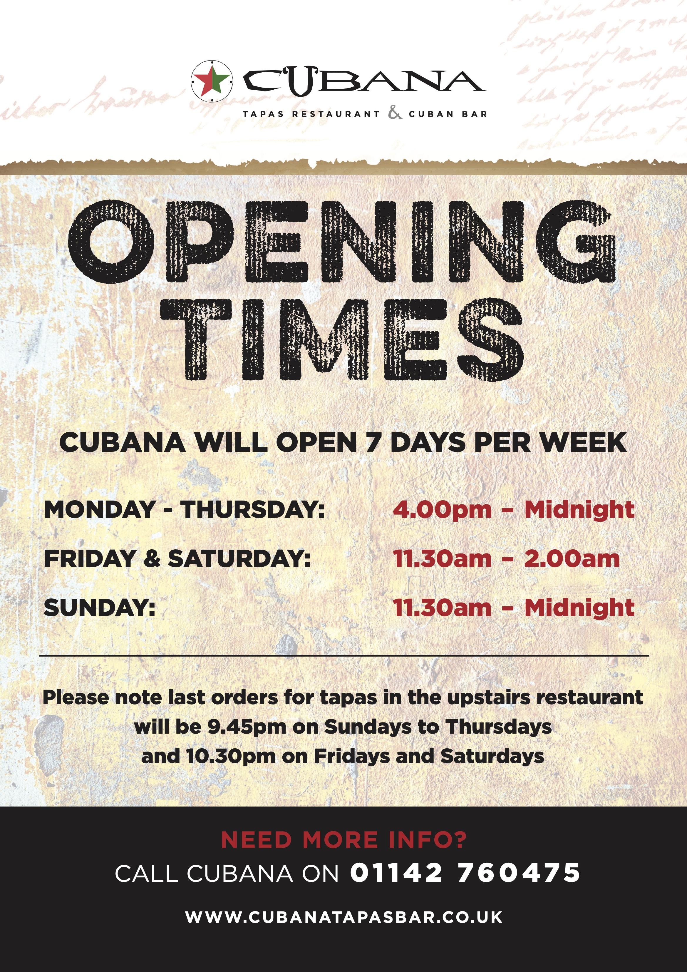 Opening Times at Cubana