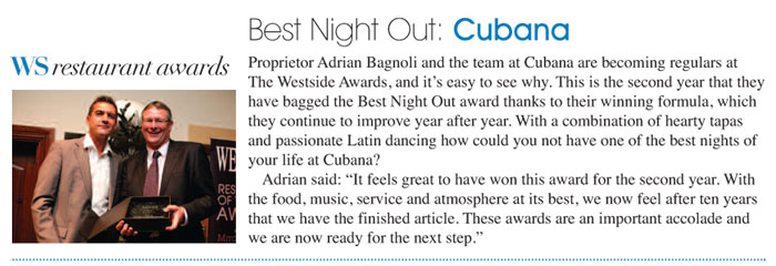 Cubana wins Best Night Out at Westside Awards 2010